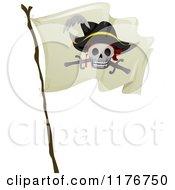 Cartoon Of A Waving Pirate Skull Flag Royalty Free Vector Clipart