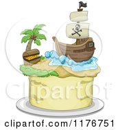 Cartoon Of A Pirate Themed Cake With A Ship And Treasure Chest Royalty Free Vector Clipart