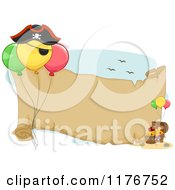 Cartoon Of A Pirate Birthday Party Themed Banner With Balloons And Treasure Royalty Free Vector Clipart