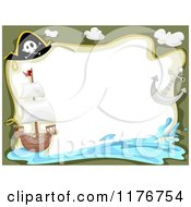 Cartoon Of A Pirate Ship Hat Anchor And Splash Border With Copyspace Royalty Free Vector Clipart by BNP Design Studio