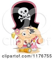 Cartoon Of A Birthday Pirate Girl Lifting Her Eye Patch And Sitting With A Cupcake Royalty Free Vector Clipart
