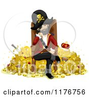 Cartoon Of A Pirate Sitting On A Throne And Guarding His Treasure Royalty Free Vector Clipart