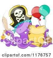 Cartoon Of A Birthday Party Pirate Octopus Holding A Sign Royalty Free Vector Clipart by BNP Design Studio
