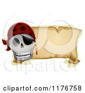 Cartoon Of A Pirate Skull And Parchment Banner Royalty Free Vector Clipart