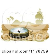 Cartoon Of A Compass On A Treasure Map Royalty Free Vector Clipart