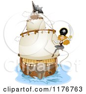 Cartoon Of A Female Pirate Swinging On A Rope Of A Ship With A Sword Royalty Free Vector Clipart by BNP Design Studio