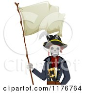 Cartoon Of A Pirate Skeleton Holding A Waving Flag Royalty Free Vector Clipart