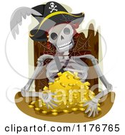 Cartoon Of Pirate Skeleton Remains Sitting With A Pile Of Gold Royalty Free Vector Clipart by BNP Design Studio