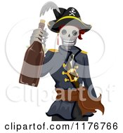 Cartoon Of A Pirate Skeleton Holding A Bottle Of Rum Royalty Free Vector Clipart