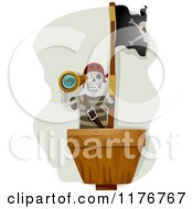 Cartoon Of A Pirate Skeleton Looking Out In A Crows Nest Royalty Free Vector Clipart by BNP Design Studio