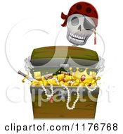 Cartoon Of A Pirate Skeleton Holding A Treasure Chest Royalty Free Vector Clipart