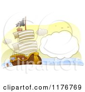 Cartoon Of A Pirate Ship On The Sea With A Cloud Frame Royalty Free Vector Clipart by BNP Design Studio