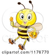 Cartoon Of A Happy Bee With A Honey Jar And Dipper Royalty Free Vector Clipart by BNP Design Studio
