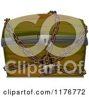 Cartoon Of A Wooden Trunk Locked Up In Chains Royalty Free Vector Clipart by BNP Design Studio