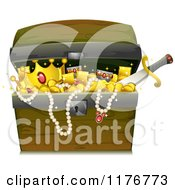 Cartoon Of A Wooden Trunk Full Of Treasure Royalty Free Vector Clipart