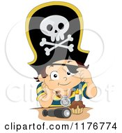 Cartoon Of A Pirate Birthday Boy With A Cupcake Royalty Free Vector Clipart