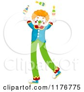Cartoon Of A Juggling Circus Clown On Stilts Royalty Free Vector Clipart