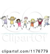 Happy Multi Ethnic And Gender Stick Children Jumping