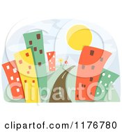 Cartoon Of A Road Leading Through Urban Skyscrapers And The Sun Royalty Free Vector Clipart