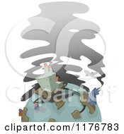 Cartoon Of A Globe With Urban Factories And Pollution Royalty Free Vector Clipart