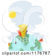 Cartoon Of A Globe With Urban Factories And The Sun Royalty Free Vector Clipart