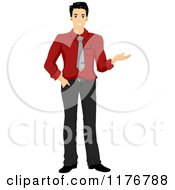 Cartoon Of A Smiling Asian Businessman Presenting With One Hand Royalty Free Vector Clipart