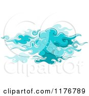 Cartoon Of Swirly Blue Clouds With Star Sparkles Royalty Free Vector Clipart by BNP Design Studio