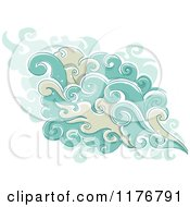 Cartoon Of Swirly Smoke With Sparkling Stars Royalty Free Vector Clipart