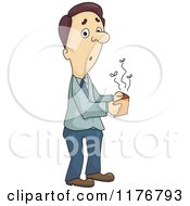 Cartoon Of A Surprised Broke Man Opening An Empty Wallet Royalty Free Vector Clipart