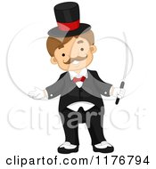 Happy Male Circus Ring Master With A Training Wand