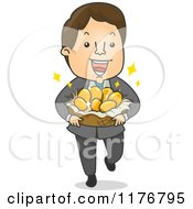 Cartoon Of A Happy Businessman Carrying A Basket Of Gold Eggs Royalty Free Vector Clipart