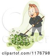 Cartoon Of A Businessman Raking Up Cash Money Royalty Free Vector Clipart