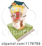 Cartoon Of A Two Story Home With Exposed Interior Royalty Free Vector Clipart