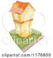 Cartoon Of A Yellow Two Story House And Yard Royalty Free Vector Clipart