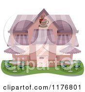 Cartoon Of A Coffee Shop With Outdoor Seating Royalty Free Vector Clipart