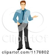 Cartoon Of A Smiling Caucasian Businessman Presenting With One Hand Royalty Free Vector Clipartb