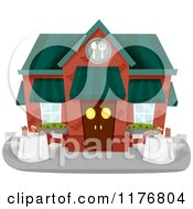 Cartoon Of A Restaurant Building Exterior With Outdoor Dining Royalty Free Vector Clipart