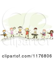Happy Stick Children Playing Music Instruments Together
