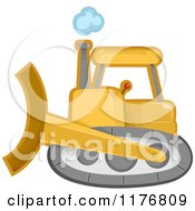 Cartoon Of A Yellow Bulldozer Machine Royalty Free Vector Clipart by BNP Design Studio