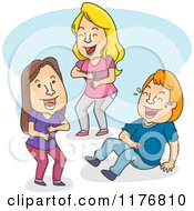 Cartoon Of Three People Laughing Royalty Free Vector Clipart