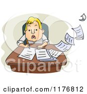 Cartoon Of A Stressed Businessman Trying To Write Fast Royalty Free Vector Clipart