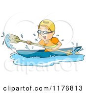 Cartoon Of A Man Having Fun While Canoeing Royalty Free Vector Clipart by BNP Design Studio