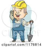 Cartoon Of A Happy Construction Worker With A Shovel Royalty Free Vector Clipart by BNP Design Studio