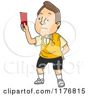 Cartoon Of A Disappointed Football Referee Holding A Red Card Royalty Free Vector Clipart