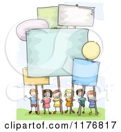 Cartoon Of Happy Diverse Stick Children With Signs Royalty Free Vector Clipart