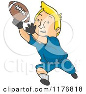 Cartoon Of A Blond Male Football Player Catching A Ball Royalty Free Vector Clipart by BNP Design Studio