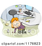 Cartoon Of A Businesswoman Kneeling Under Her Desk And Cleaning Up Her Office Space Royalty Free Vector Clipart