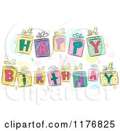 Cartoon Of Colorful Gift Boxes Spelling Happy Birthday Royalty Free Vector Clipart