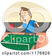 Cartoon Of A Happy Man Playing Ping Pong Table Tennis Royalty Free Vector Clipart by BNP Design Studio