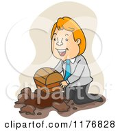 Cartoon Of A Businessman Buring A Treasure Chest Royalty Free Vector Clipart